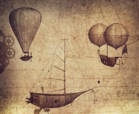 Tuotekuvassa vanhoja piirrustuksia Leonardo Da Vincin keksinnöistä